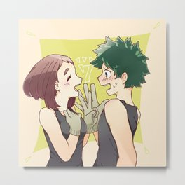 Midoriya with Uraraka loveable 2 Metal Print