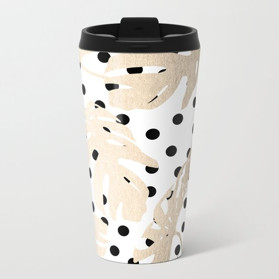 Simply Tropical White Gold Sands Palm Leaves on Dots Metal Travel Mug