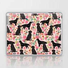 Flat Coated Retriever dog breed pet art dog floral pattern gifts for dog lover pet friendly Laptop & iPad Skin
