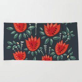 Abstract Red Tulip Floral Pattern Beach Towel
