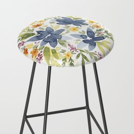 Watercolor Floral Bouquet Bar Stool