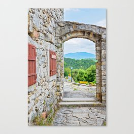 Town of Hum stone gate and street view Canvas Print