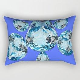AQUAMARINE MARCH BIRTHSTONES ON BLUE ART Rectangular Pillow