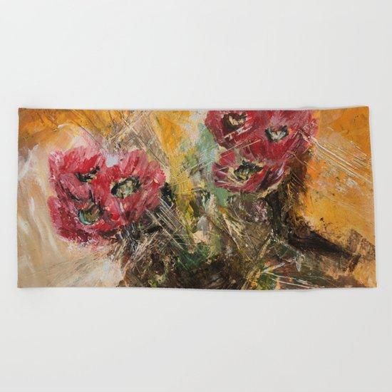 Pink Cactus Flowers Beach Towel