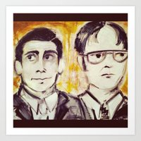 dwight Art Prints featuring Michael & Dwight by Melissa Dilger
