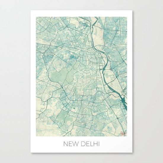 Delhi Map Blue Vintage Canvas Print