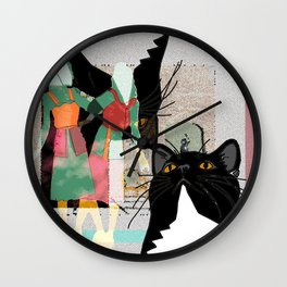 Kats At The Museo or Doppelganger Party Wall Clock
