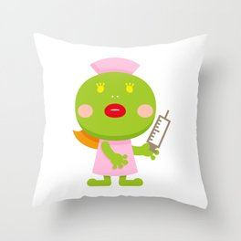 Frog blonde nurse and syringe Throw Pillow