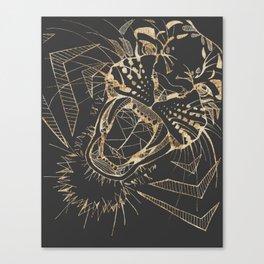 Roaring geometric tiger | Gold & Gray Canvas Print