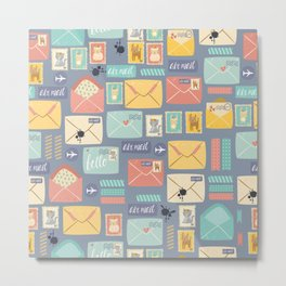 Retro styled pattern with letters and postcards Metal Print
