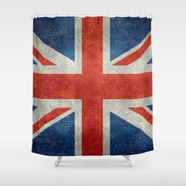UK flag, High Quality bright retro style Shower Curtain