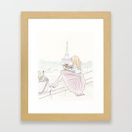 Eiffel Tower Pleated Cuddles with Yorkie Dog and Cat Framed Art Print