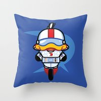gizmo Throw Pillows featuring Hello Gizmo by Hoborobo