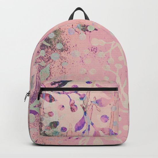 Soft Pink Pastel Floral Watercolor Pattern Backpack