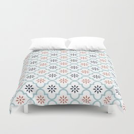 Red & Blue Mute Lattice Duvet Cover