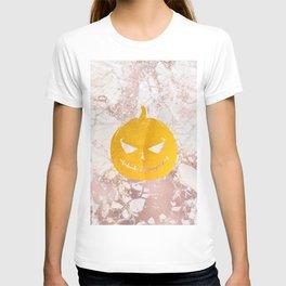 Golden Halloween Pumpkin Face on Rosegold T-shirt