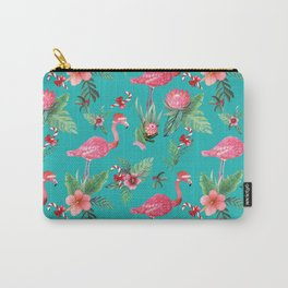 Santa Flamingo Christmas, Holiday Tropical Watercolor Carry-All Pouch