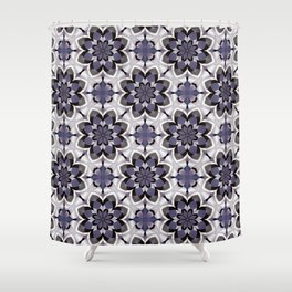 Plum Black and White Mosaic Pattern Shower Curtain