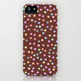 chocolate Glaze with sprinkles. Brown abstract background iPhone Case