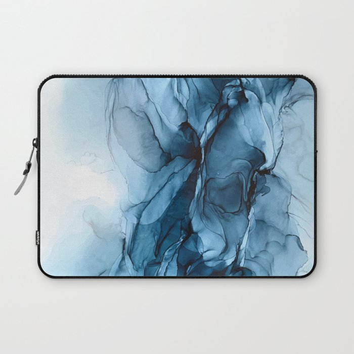 Deep Blue Flowing Water Abstract Painting Laptop Sleeve