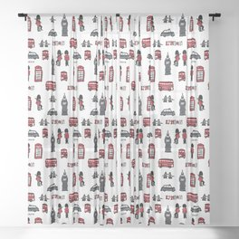 London icons illustration Sheer Curtain