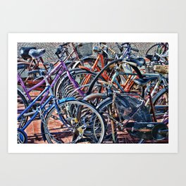 Lots of colorfull bycicles Art Print