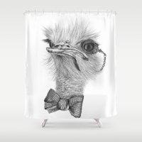 ostrich Shower Curtains featuring Mr. Ostrich by Etienne Alexandra