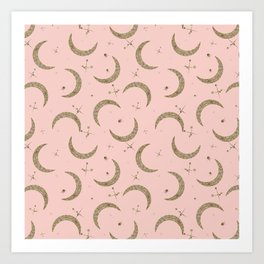 Gold Glitter Crescent Moon + Stars in Peach Art Print