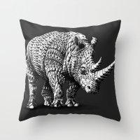 bioworkz Throw Pillows featuring Rhinoceros by BIOWORKZ