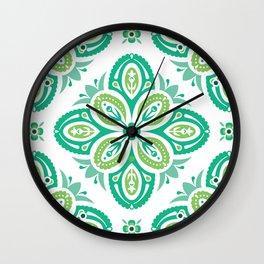 Nordic Folk Art Quatrefoils in Minty Hues on White (pattern) Wall Clock