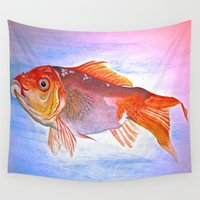 goldfish Wall Tapestries featuring Goldfish by Jaime Viens