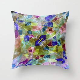purple with gold framed steel Throw Pillow
