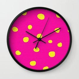 Pink And Yellow Dots Wall Clock
