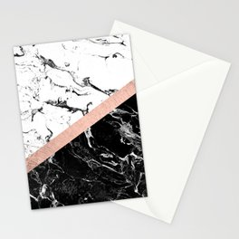 Modern black white marble color block rose gold Stationery Cards