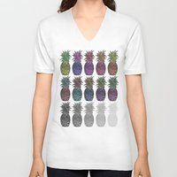 pineapples V-neck T-shirts featuring Pineapples by Hinterlund