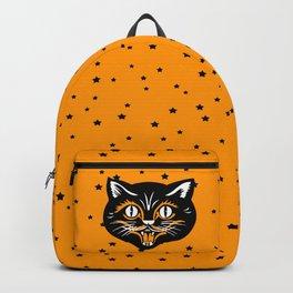 Vintage Type Halloween Black Cat Face Stars Orange Backpack