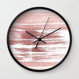 White elegant faux rose gold modern brushstrokes Wall Clock