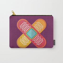 Plaster scratch sore polka line purple yellow Carry-All Pouch