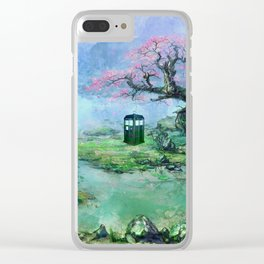 tardis under  the tree Clear iPhone Case