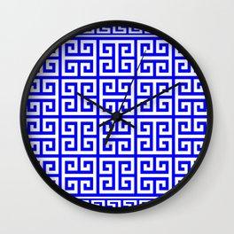 Greek Key (Blue & White Pattern) Wall Clock