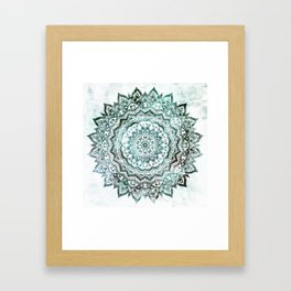 Emerald Jewel Mandala Framed Art Print