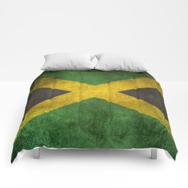 Old and Worn Distressed Vintage Flag of Jamaica Comforters