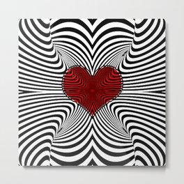 Modern Heart Waves Metal Print