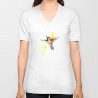 hummingbird V-neck T-shirts featuring hummingbird by emegi