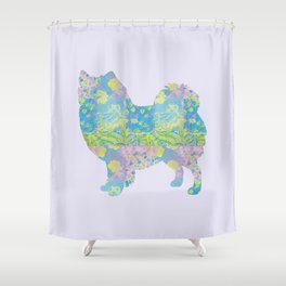 american eskimo vintage floral pattern pastel pink lilac turquoise lime green shower curtain