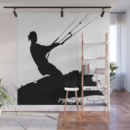 Wakeboarder Lets Go Fly A Kite Silhouette Wall Mural