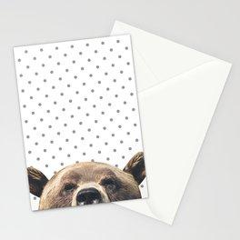 Bear - Gray Dots Stationery Cards