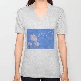 flying dandelion watercolor painting Unisex V-Neck