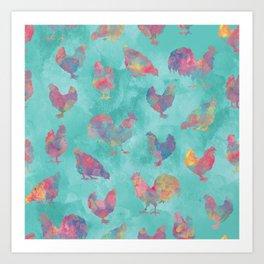 Rainbow Chickens Art Print