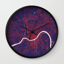 Cincinnati, OH, USA, Blue, White, City, Map Wall Clock